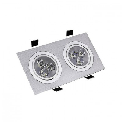Spot LED Downlight Orientable Rectangulaire 2x3x1W . FLDR-231