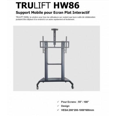 TRULIFT HW86,chariot mobile ecran tactile, support ecran à roulette